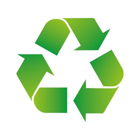 Ilustración de Green arrows recycle eco symbol vector illustration isolated on white background. Recycled sign. Cycle recycled icon. Recycled materials symbol. - Imagen libre de derechos