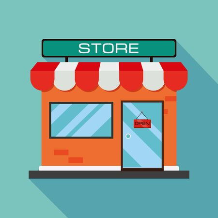 Illustration for orange store icon. Shop icon with flat shadow on a blue background. Flat design. Vector illustration - Royalty Free Image