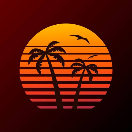 Illustration pour Palm tree on sunset background and flying plane. - image libre de droit