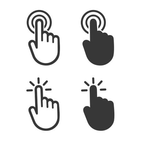 Illustration pour Hand cursor click symbol icon. Touch vector icons. Illustration isolated on white background - image libre de droit