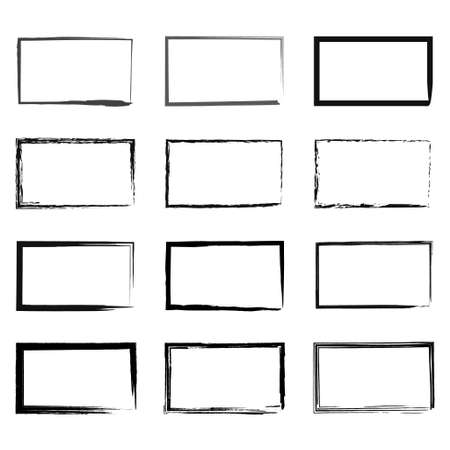 Illustration pour Grunge rectangular frame, blank frame. Set of hand drawn rectangle. Vector illustration on white background. - image libre de droit