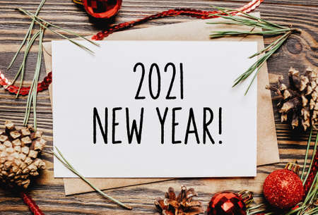 Photo for Merry christmas and merry new year concept notebook with text 2021 New Year - Royalty Free Image