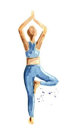 Photo pour Yoga concept.  Tree pose. Woman practice. - image libre de droit