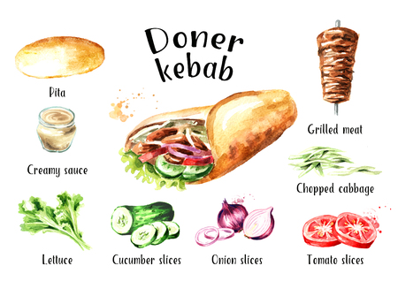 Photo for Doner kebab ingredients set. Watercolor hand drawn illustration, isolated on white background - Royalty Free Image