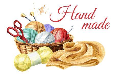 Photo pour Manual knitting concept. Watercolor hand drawn - image libre de droit