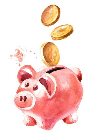 Photo for Piggy bank with coins falling into slot. - Royalty Free Image