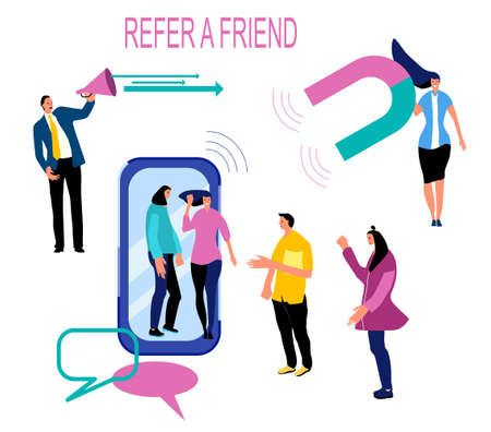 Refer a friend loyalty program, promotion method. Group of people going out of smartphone. Manager attracts customers with megaphone and huge magnet. Social media marketing strategy.Web design vector