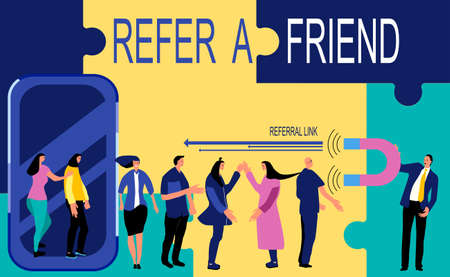 Refer a friend loyalty program, promotion method. Group of people going out of smartphone. Manager attracts buyers with a huge magnet. Social media marketing strategy. Puzzles around.Web design vector