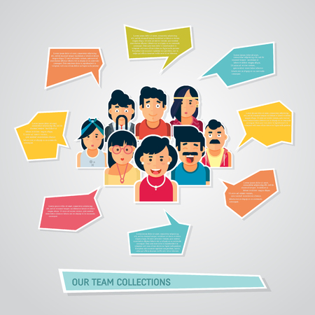Illustration for People icons with chat speech bubbles. Vector design of different characters including man and women. Flat character design icon set. People avatar - Royalty Free Image