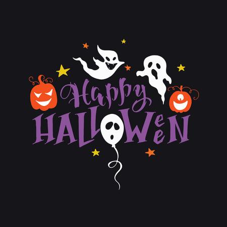 Ilustración de Vector hand drawn poster with hand-lettering, scary pumpkins, ghosts. Happy Halloween greeting card. Perfect design element for poster or banner. - Imagen libre de derechos