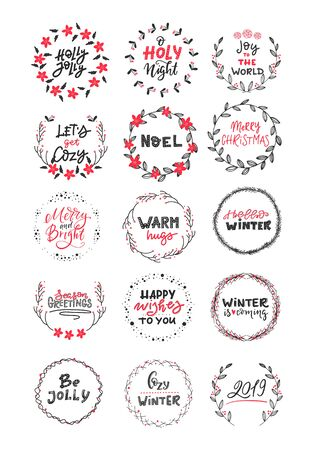 Illustration pour Vector big collection of hand written christmas phrases and quotes. Elegant calligraphic lettering phrases with wreaths isolated. - image libre de droit