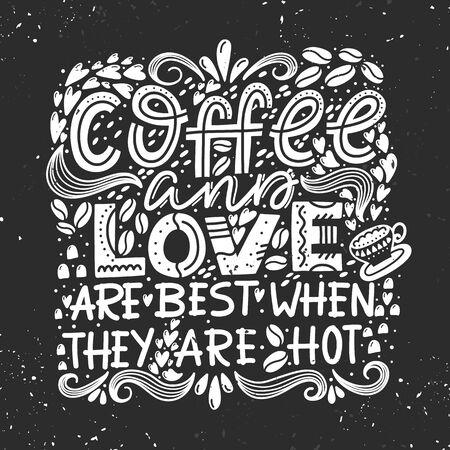 Illustration pour Vector lettering design composition Coffee and Love - image libre de droit