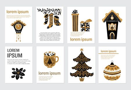 Photo pour Vector Merry Christmas greeting cards and invitations isolated on background. Set with xmas tree, house,clock, gifts, socks, ball and text in scandinavian style. Vector elements for Xmas design. - image libre de droit