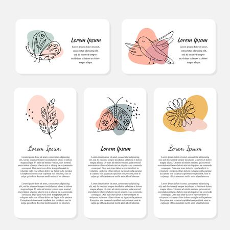 Illustration pour Vector Spring cards with flowers, insects, bird and text. Line art, spring design - image libre de droit