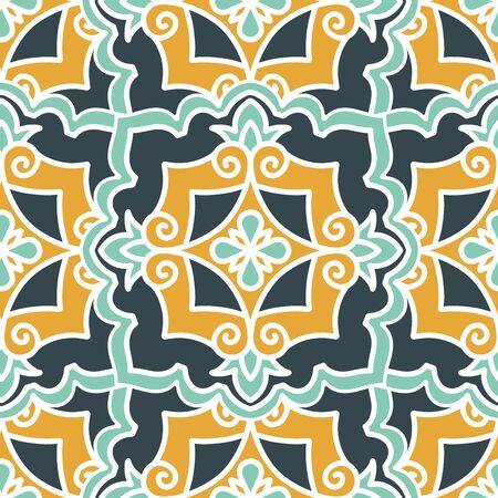 Illustration pour Seamless pattern with Arabic and Asian motifs - image libre de droit