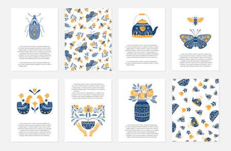 Ilustración de Vector set of greeting cards in Scandinavian, Nordic and Folk art style with hygge elements and text - Imagen libre de derechos