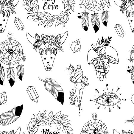 Illustration pour Vector seamless pattern with magic and witchcraft elements. Wild magic style design. Great for surface design and coloring books. - image libre de droit