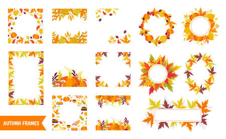 Illustration pour Vector big set of Autumn frames, wreath and borders with pumpkins and autumn leaves on white background. Autumn forest Thanksgiving day Perfect for holiday invitations and greeting card - image libre de droit