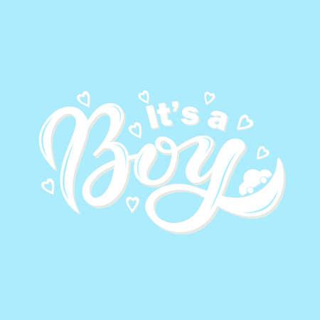 Illustration pour It's a BOY. Hand drawn lettering. Vector illustration - image libre de droit