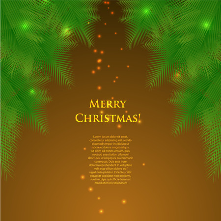 greeting christmas card with spruce branches and lights.