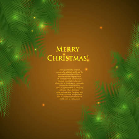 greeting christmas card with spruce branches and lights