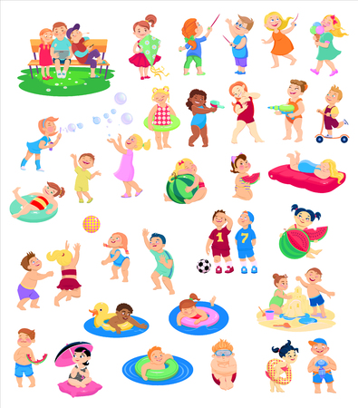 Illustration pour cartoon collection of children's characters, summer holidays, vacation. Vector flat illustration. - image libre de droit