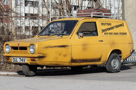 ZAGREB, CROATIA - MARCH 07, 2015: Trotters Independent Traders reliant regal as used in Only Fools and Horses. Only Fools and Horses is a British television situation comedy created and written by John Sullivan.