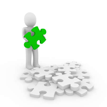 3d human puzzle green business white success