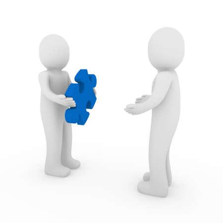 3d men puzzle success teamwork team blue business