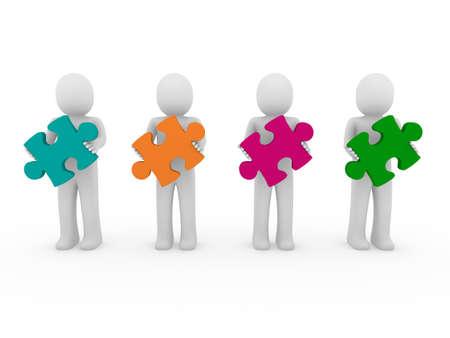 3d men puzzle teamwork green orange pink purple