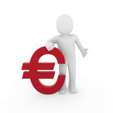 3d human euro finance red success symbol business