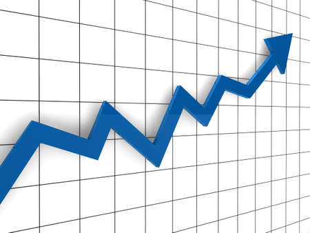 Photo for 3d, graph, arrow, blue, success, finance, diagram - Royalty Free Image
