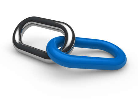 3d blue chrome chain connection security link