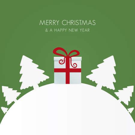 gift box red white christmas tree world