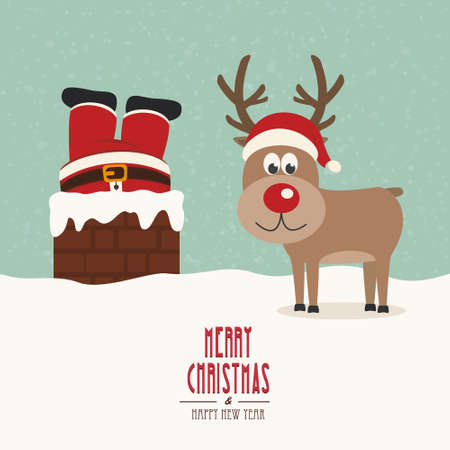 santa stuck in chimney vintage reindeer smile snow background