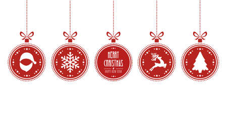 christmas balls hanging red isolated background