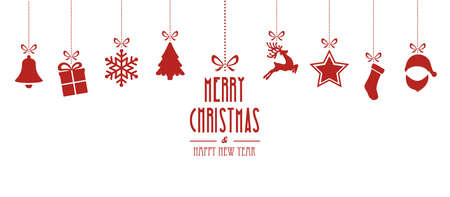 christmas elements hanging red isolated background