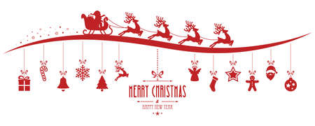 Illustration pour santa claus sleigh christmas elements hanging gred isolated background - image libre de droit