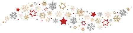 Illustration pour Snowflakes and Stars Border - image libre de droit