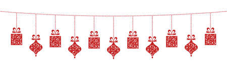 Illustration for Hanging Christmas Decoration with lovely Christmas Elements. - Royalty Free Image