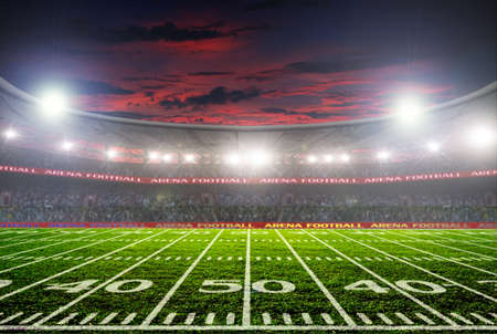 football stadium before the game. night lighting