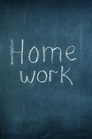Phrase Homework on blackboard chalkboard