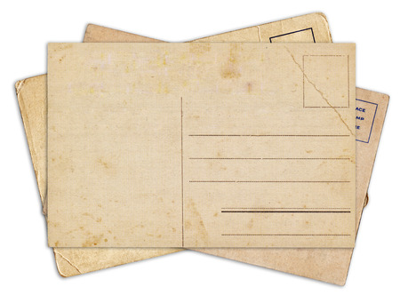 Stack of blank old vintage postcard isolated on white background