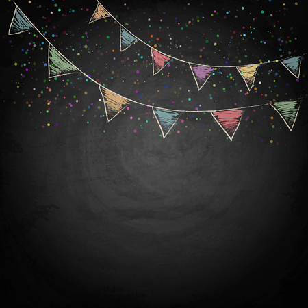 Illustration pour Chalkboard background with drawing bunting flags. Vector texture EPS10 - image libre de droit