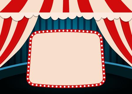 Illustration pour Poster Template with retro circus banner. Design for presentation, concert, show. Vector illustration - image libre de droit