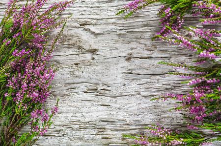 Photo pour Heather flowers bouquet on the old wood background - image libre de droit