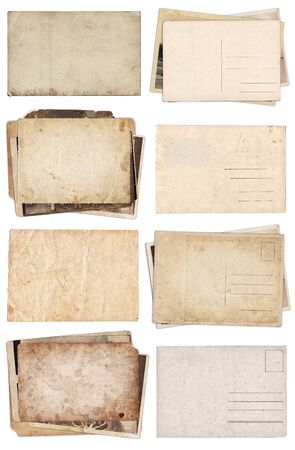 Photo for Set of various Old papers and postcards with scratches and stains texture isolated on white - Royalty Free Image