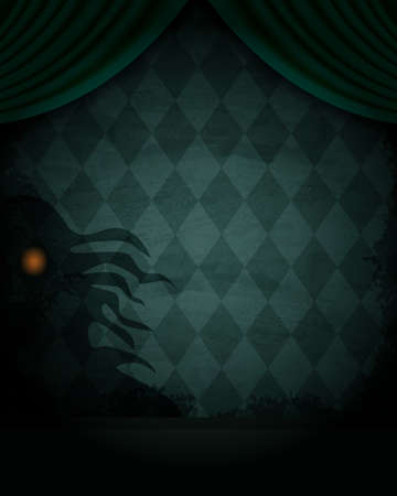 Illustration pour Aged old room with diamond-shaped grunge wallpaper, curtain and shadow of creepy creature for Halloween design - image libre de droit