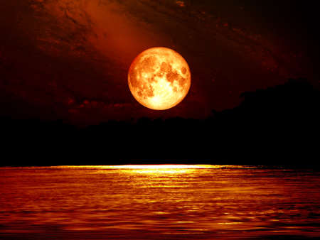 Photo for full blood moon sky and moonlight on river, Elements of this image furnished by NASA - Royalty Free Image