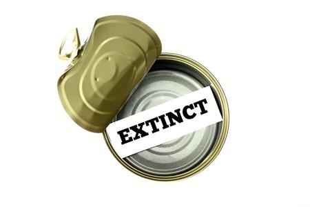 Extinction concept  extinct written inside empty can